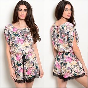 Pants - Sweet Sexy Flirty Floral Lace Romper S/M